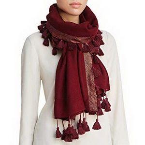 Eileen Fisher Tasseled Shimmer Wool Wrap Scarf Cla